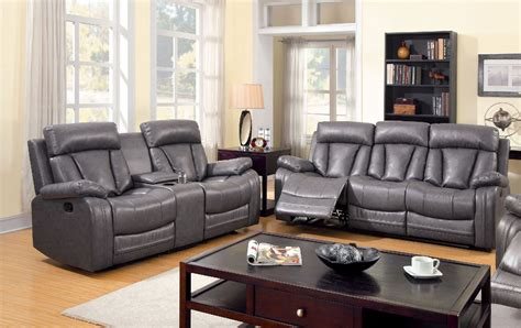 Grey Leather Set by 3 Pc Motion Sofa Set Sofa Loveseat Recliner Gray Bonded