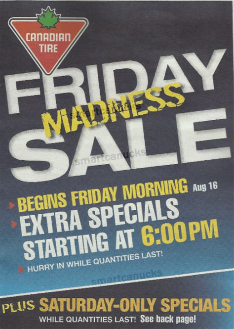 canadian tire friday madness sale august  canadian freebies coupons deals bargains