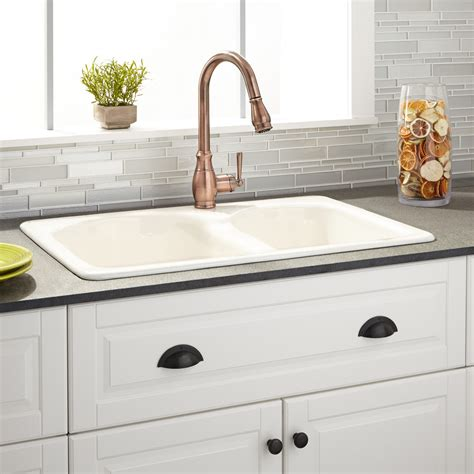 33 Quot Cayton 70 30 Offset Double Bowl Cast Iron Drop In Drop In Kitchen Sinks