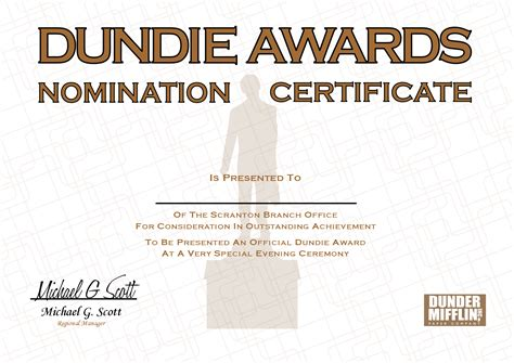 nomination certificate template dundie award nomination certificate with a small s