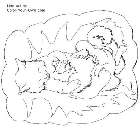 fluffy kitten coloring page mother cat with kittens line art coloring pages of