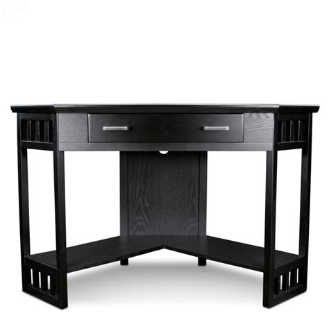 Corner Black Computer Desk Leick Corner Computer And Writing Desk Black Finish Kitchen Dining