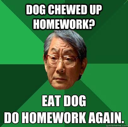 Asian Dog Meme - dog chewed up homework eat dog do homework again high