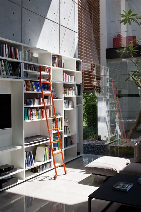 home library ladders interior design ideas contemporary bauhaus on the carmel by pitsou kedem