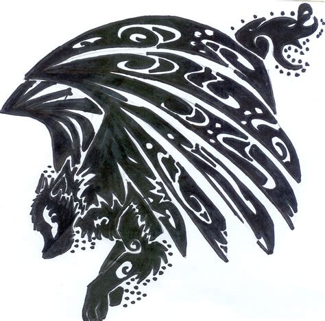tribal wolf tattoo images tribal winged wolf design