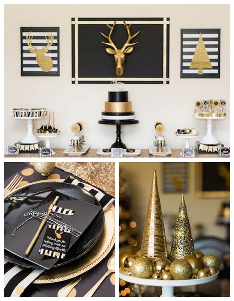 Red And Grey Kitchen Ideas by Kara S Party Ideas Modern Black Gold Christmas Party