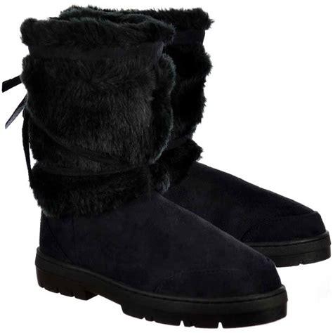 ella fur cuff flat ankle winter boot black ella from