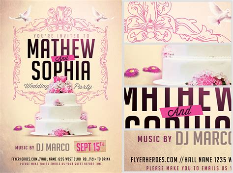 wedding flyer template 2 flyerheroes