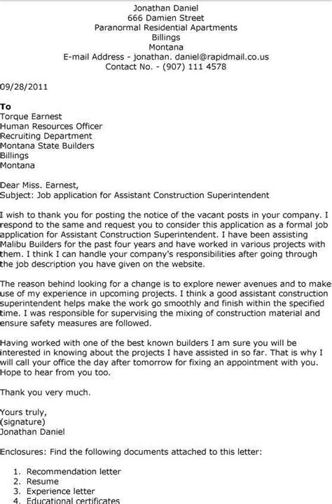 construction cover letter exles traveling construction superintendent resume sales