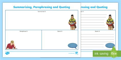 Quoting Template by New Summarising Paraphrasing And Quoting Writing Template