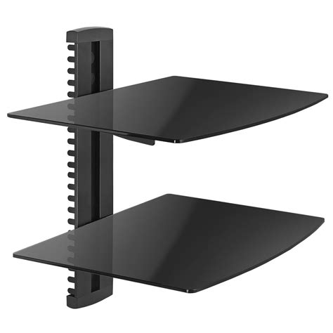 economy aluminum and tempered glass dvd mount two shelves
