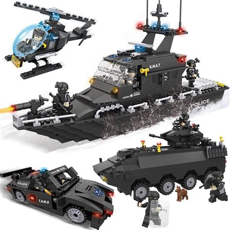 lego boat helicopter kazi police chasing team swat series action model building