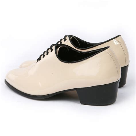mens glossy ivory plain toe lace up high heels oxfords
