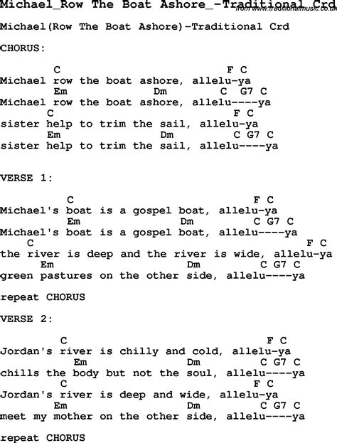 skiffle lyrics for michael row the boat ashore - Chords For Michael Row The Boat Ashore