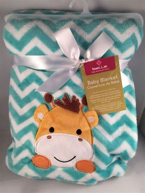 a gift that is soft new baby boy blanket soft chevron giraffe teal blue gift shower nursery teal blue