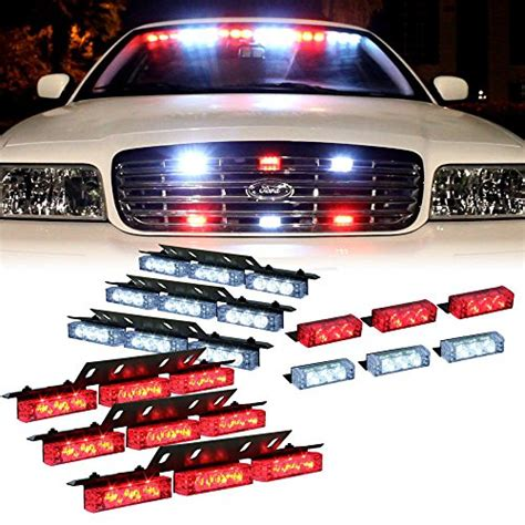 police lights for car grill dt moto red white 54x led emergency service vehicle dash