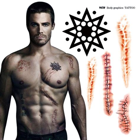 oliver queen tattoo dragon popular waterproof body makeup for scars aliexpress