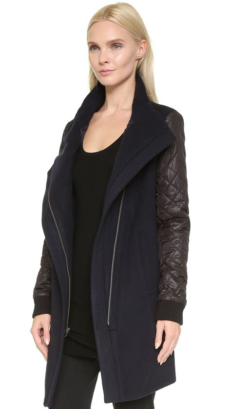 Quilted Coat With by Tess Giberson Wool Coat With Quilted Sleeves Navy Black