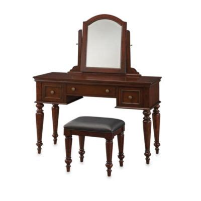 home styles naples vanity table and bench set in white home styles lafayette vanity table and bench set in cherry
