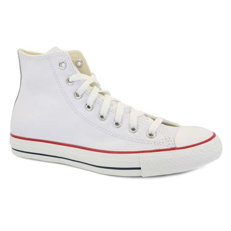 Converse Allstar White converse all leather 132169c unisex laced leather trainers white ebay