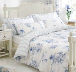 Blue And White Bed Set Blue White Bedding Bed Linen Floral Stripe Reversible Duvet Cover Or Curtains Ebay