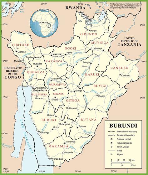 africa map burundi large detailed road map of burundi