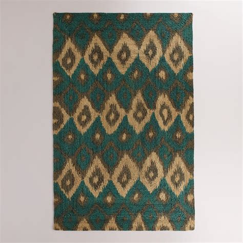 Ikat Area Rug 5 X8 Blue Ikat Braided Jute Bima Area Rug World Market