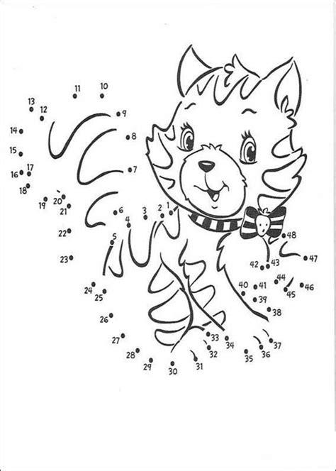 Dot to dot: cat coloring pages - Hellokids.com