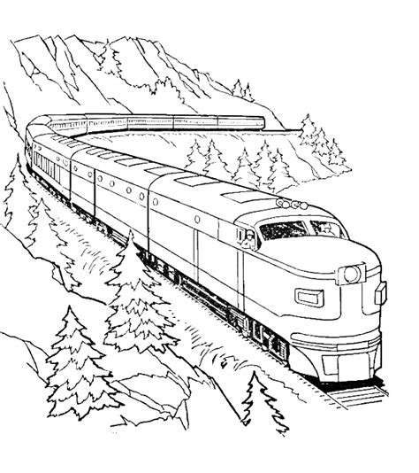 Long Train Coloring Page | a very long train coloring pages transportation coloring