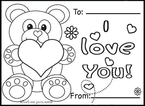 free coloring card templates printable valentines day cards teddy bearsfree printable