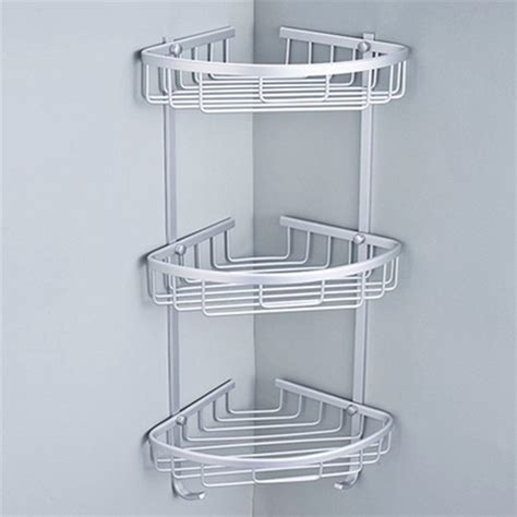 Bathroom Corner Shower Caddy 3 Sizes Space Aluminum Triangular Shower Caddy Shelf Bathroom Corner Rack Storage Stock Holder