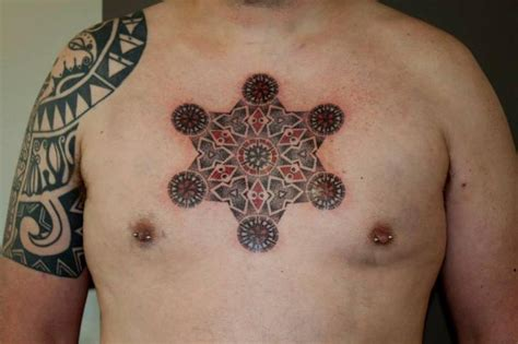 geometric chest tattoos chest dotwork geometric by beautiful freak