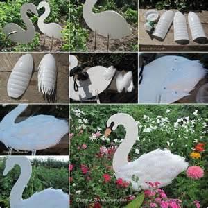 Pinterest Garden Craft Ideas - swan garden decorations using plastic bottles find fun