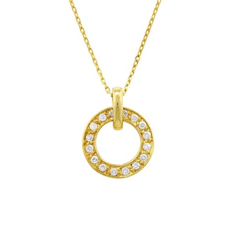yellow gold circle meridian pendant road