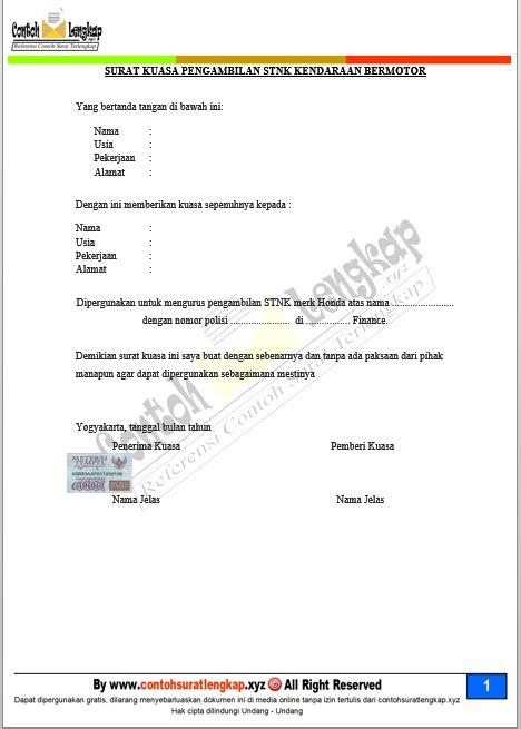 Contoh Surat Kuasa Pengambilan Bpkb Motor Di Adira Finance