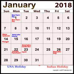 Calendar 2018 January Holidays Holidays Calendar January 2018 For Free Printable