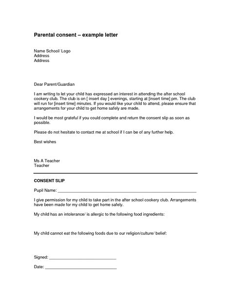 parental authorization letter for exle children
