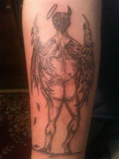 half angel half demon tattoo designs half half picture design idea