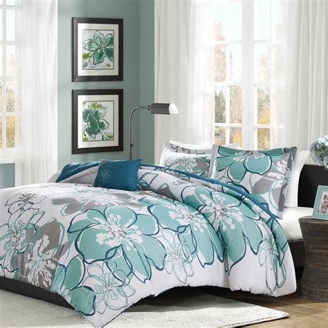 bed set queen new bold floral seafoam green grey comforter sham full