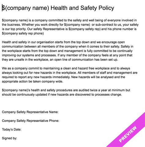 health and safety policy template free company health and safety policy statement template