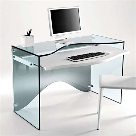 Glass Desk Computer strata glass computer desk and or dressing desk from tonelli
