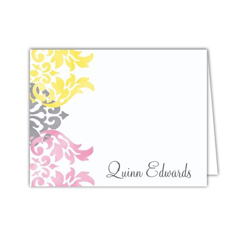 pink damask baby shower thank you notes paperstyle