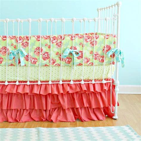 coral baby bedding sets coral baby bedding tumbling roses ruffles crib set