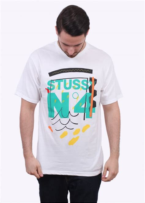 T Shirt Stussy No 4 Tees stussy no4 doodle white t shirts from triads uk