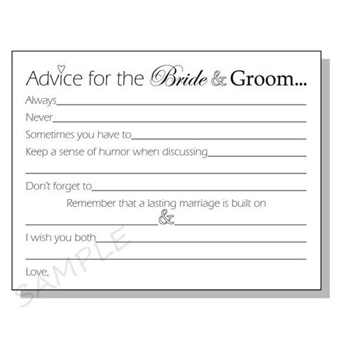 bridal shower advice cards template diy advice for the groom printable cards for a