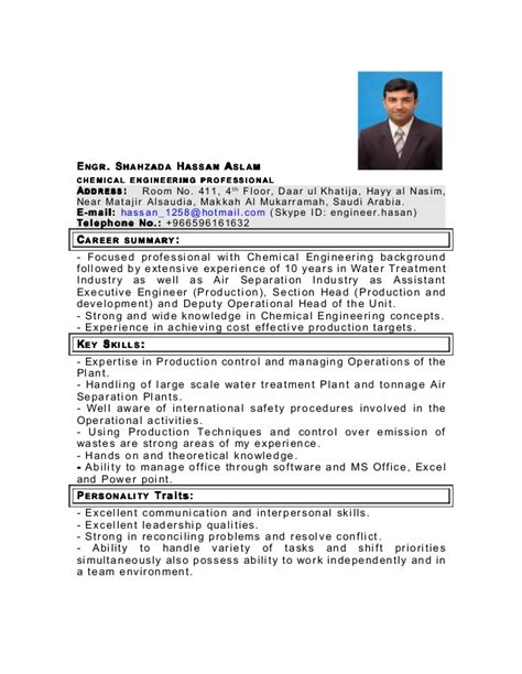 Resume Format For Chemical Engineer by My Cv As Chemical Engineer In Pdf
