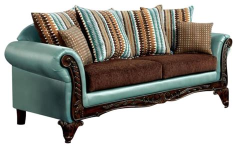 mulligan teal leatherette brown fabric sofa and