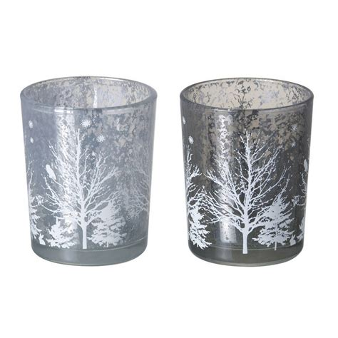 set of two christmas tree tea light holders by the wedding