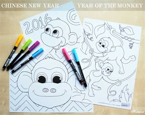 new year coloring page year of the monkey happy new year year of the monkey hattifant