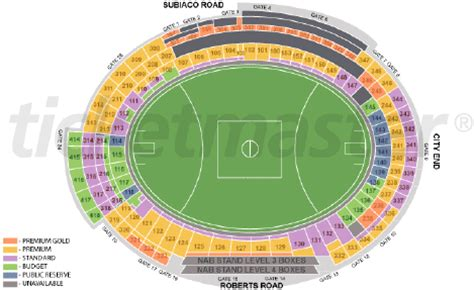 subiaco oval seating map how likely is it i can get tickets for the west coast